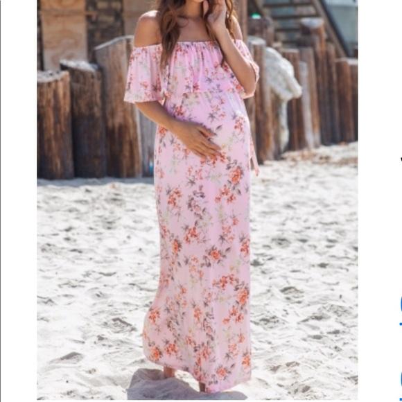 Pinkblush Dresses & Skirts - NWT Pink Floral Off Shoulder Tie Maternity Dress